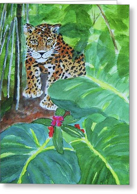 Greeting Card featuring the painting Jungle Jaguar by Ellen Levinson