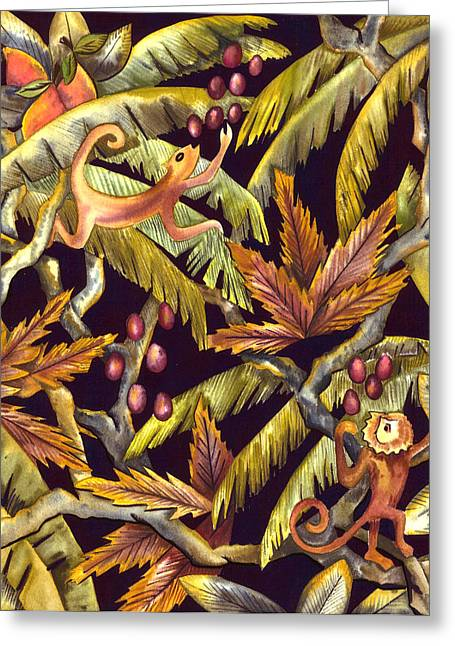 Jungle Monkeys Greeting Card by Leslie Marcus