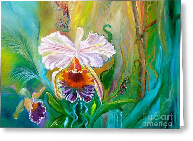 Jungle Orchid Greeting Card by Jenny Lee