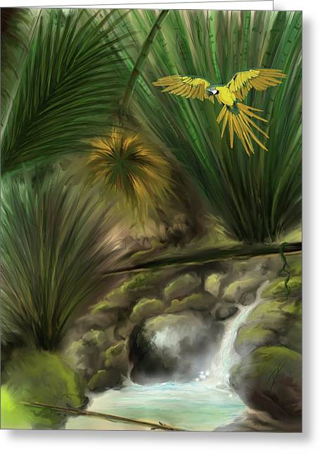 Greeting Card featuring the digital art Jungle Parrot by Darren Cannell