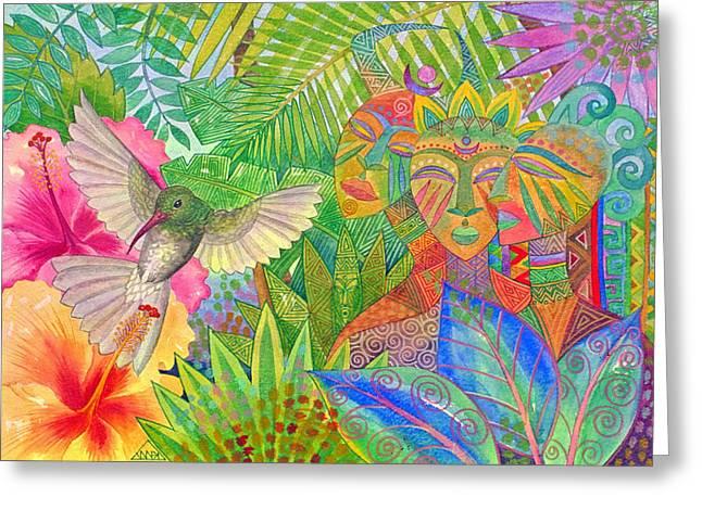 Jungle Spirits And Humming Bird Greeting Card by Jennifer Baird