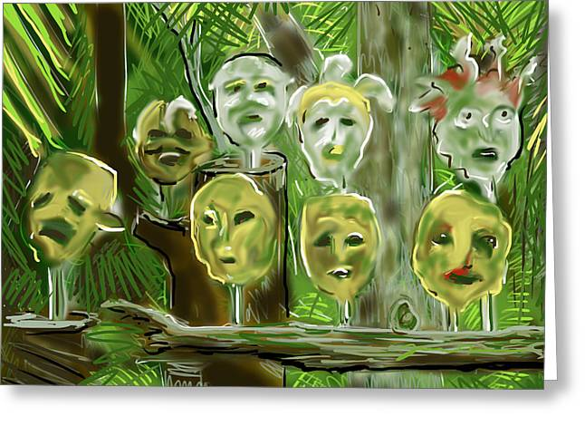Greeting Card featuring the digital art Jungle Spirits by Jean Pacheco Ravinski