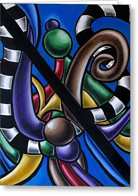 Original Colorful Abstract Art Painting - Multicolored Chromatic Artwork Greeting Card
