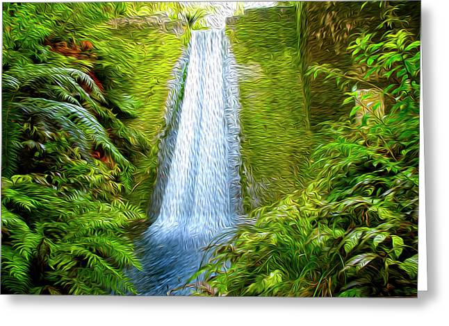 Jungle Waterfall Greeting Card by Les Cunliffe