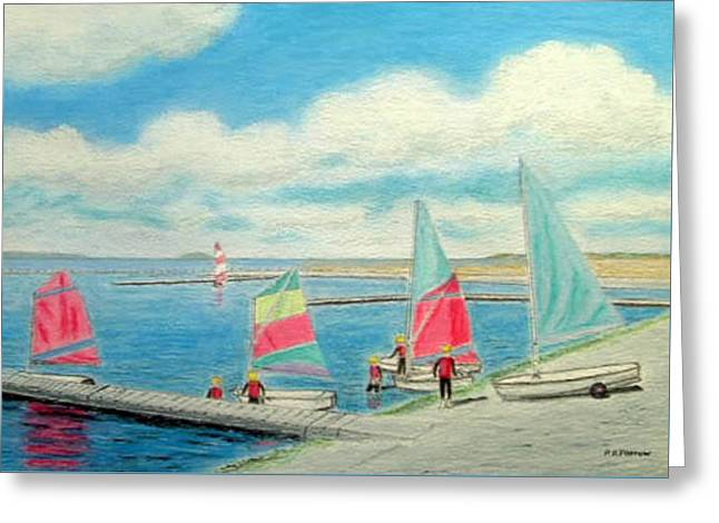 Junior Sailing School, West Kirby Marine Lake Greeting Card by Peter Farrow