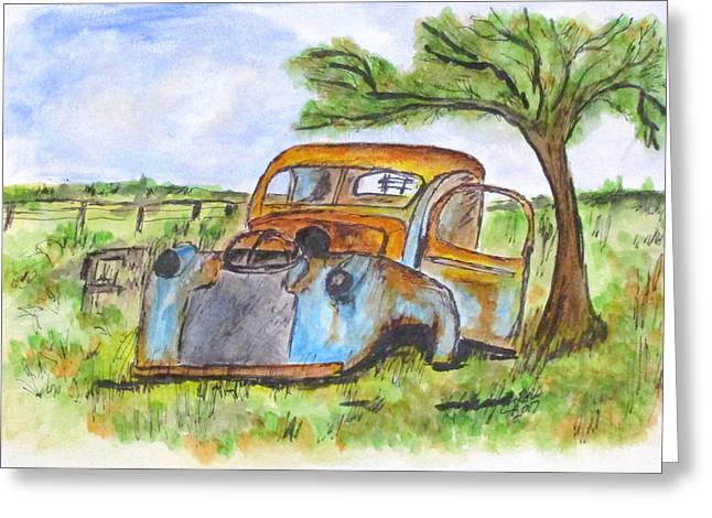 Junk Car And Tree Greeting Card