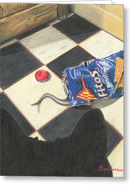 Bottle Cap Drawings Greeting Cards - Junk Food Greeting Card by Bon Vernarelli