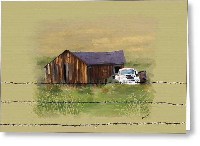Greeting Card featuring the painting Junk Truck by Susan Kinney