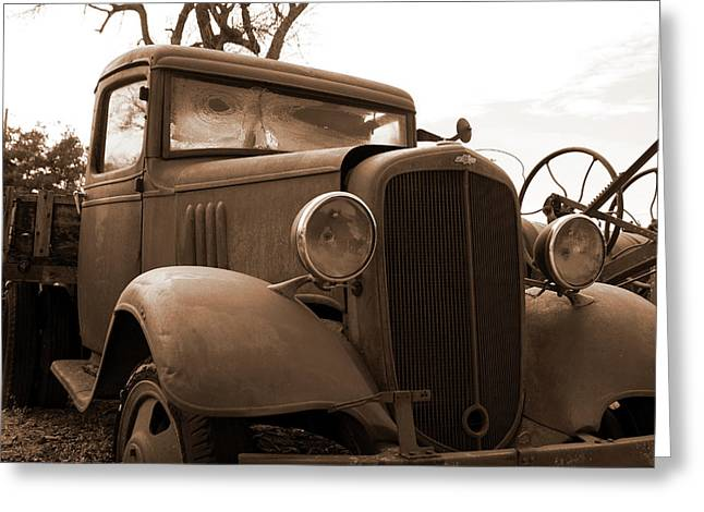 Junk Yard Chevy Truck Greeting Card by Mark A Brown