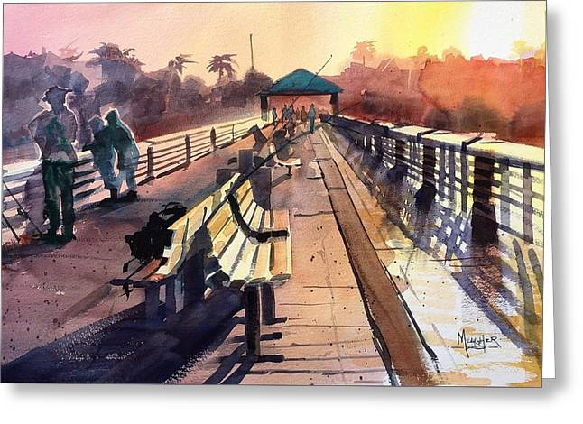 Juno Beach Pier At Sunset Greeting Card by Spencer Meagher