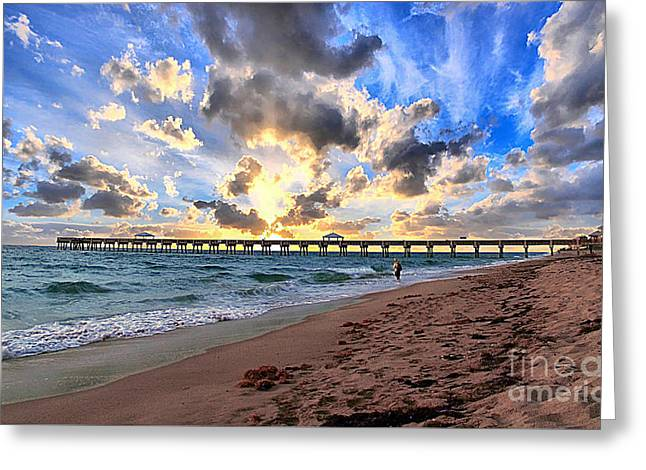 Juno Beach Pier Florida Sunrise Seascape D7 Greeting Card