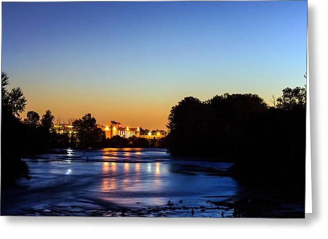 Jupiter And Venus Over The Willamette River In Eugene Oregon Greeting Card