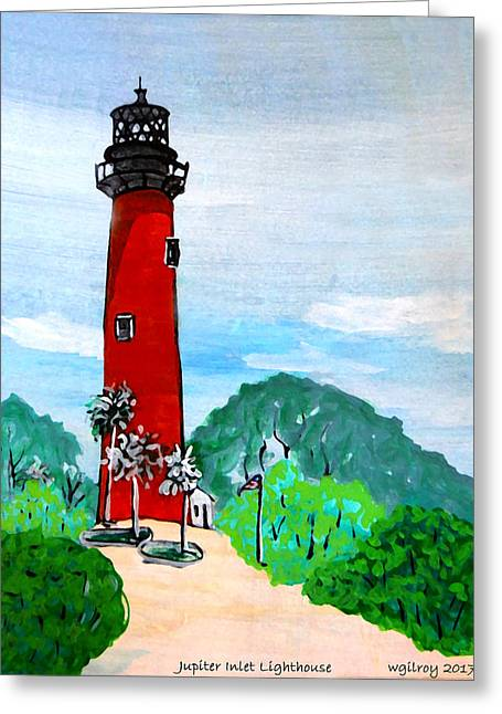 Jupiter Inlet Lighthouse Greeting Card by W Gilroy