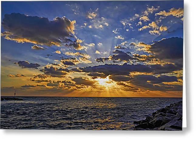 Jupiter Inlet Sunrise Greeting Card by Island Photos