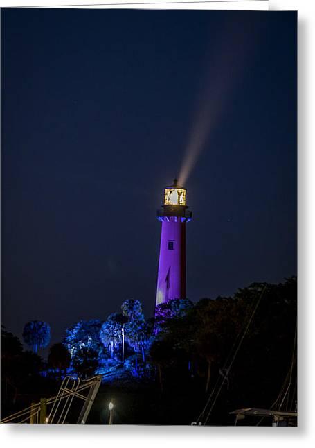 Jupiter Lighthouse At Night Greeting Card
