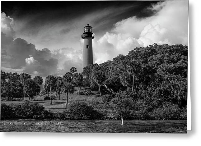 Jupiter Lighthouse Bw Greeting Card by Laura Fasulo