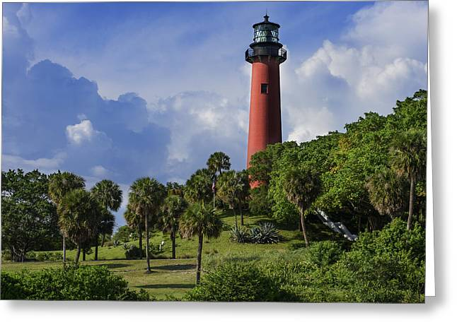 Jupiter Lighthouse Sq Greeting Card by Laura Fasulo