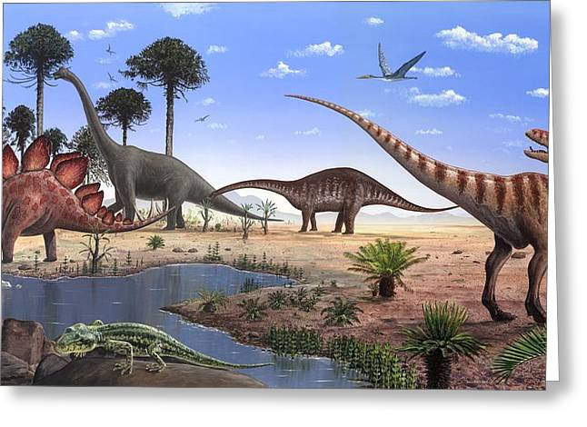 Jurassic Dinosaurs, Artwork Greeting Card by Richard Bizley