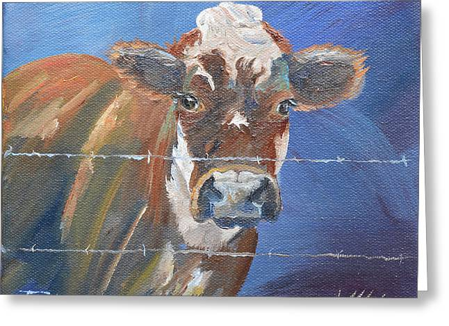 Greeting Card featuring the painting Just A Big Happy Cow On A Little Square Canvas by Jan Dappen