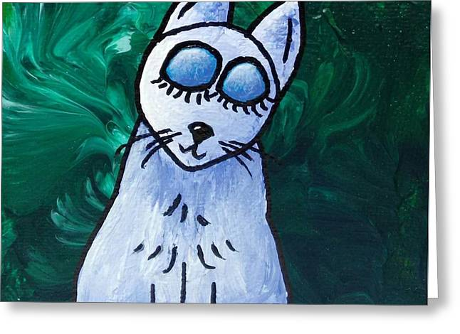 Just A Cat #3 Greeting Card by LimbBirds Whimsical Birds