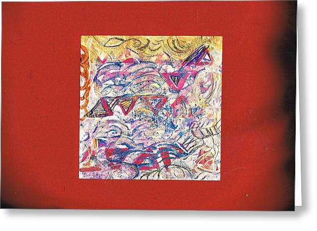 Just A Little Abstract On A Red Satin Pillow Greeting Card by Anne-Elizabeth Whiteway