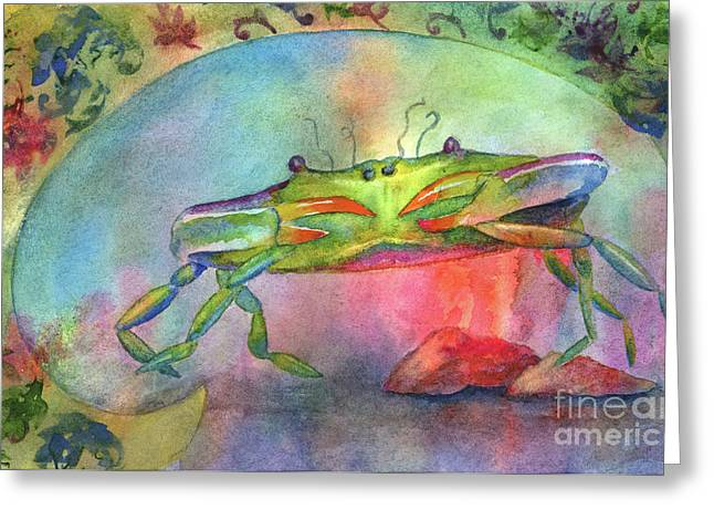Just A Little Crabby Greeting Card by Amy Kirkpatrick