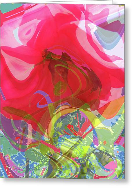 Just A Wild And Crazy Rose - Floral Abstract - Colorful Art Greeting Card