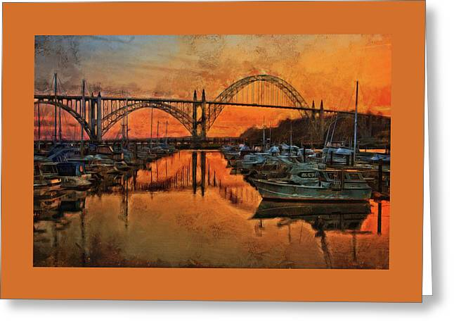 Just After Sunset On Yaquina Bay Greeting Card