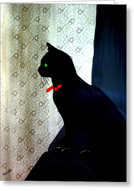 Cat On Back Greeting Cards - Just an Ally Cat Greeting Card by Una  Miller