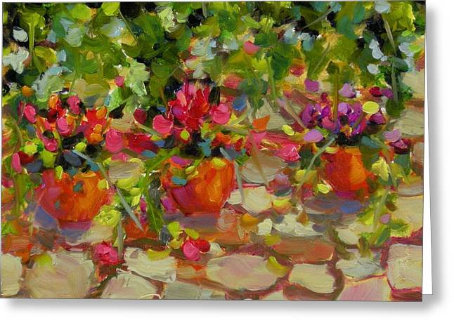 Greeting Card featuring the painting Just Another Wall In Tuscany by Chris Brandley