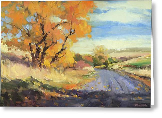 Greeting Card featuring the painting Just Around The Corner by Steve Henderson