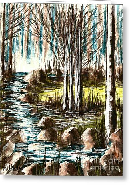 Just Around The Riverbend  Greeting Card