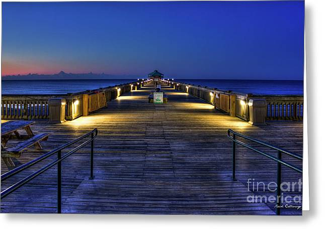 Greeting Card featuring the photograph Just Before Dawn Folly Beach Pier Charleston Sc Sunrise Art by Reid Callaway