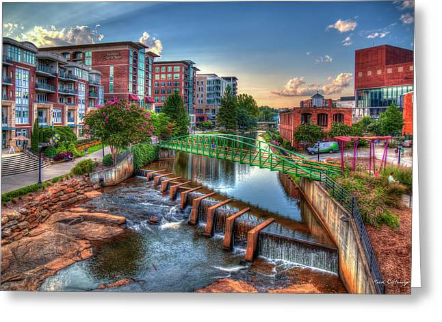 Just Before Sunset 2 Reedy River Falls Park Greenville South Carolina Art Greeting Card