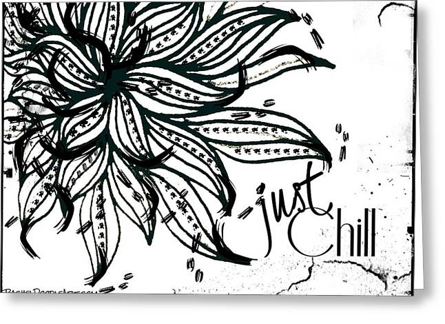 Greeting Card featuring the drawing Just Chill by Rachel Maynard