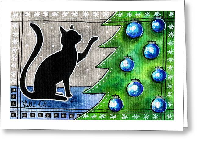 Just Counting Balls - Christmas Cat Greeting Card