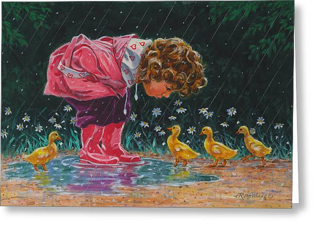 Just Ducky Greeting Card by Richard De Wolfe