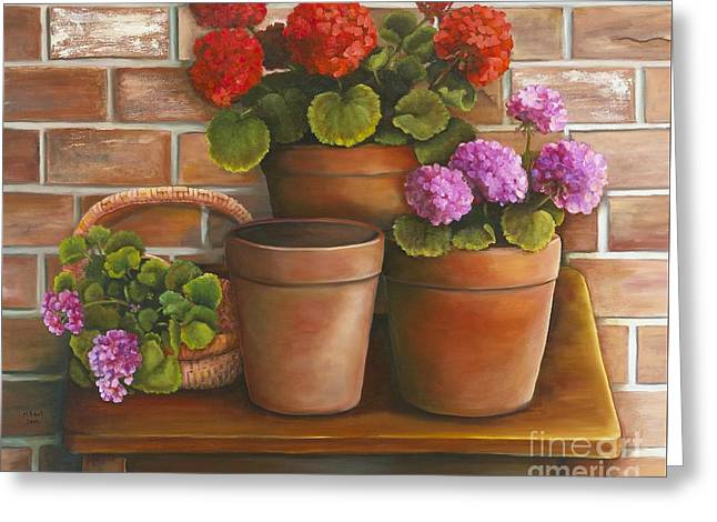Just Geraniums Greeting Card by Marlene Book