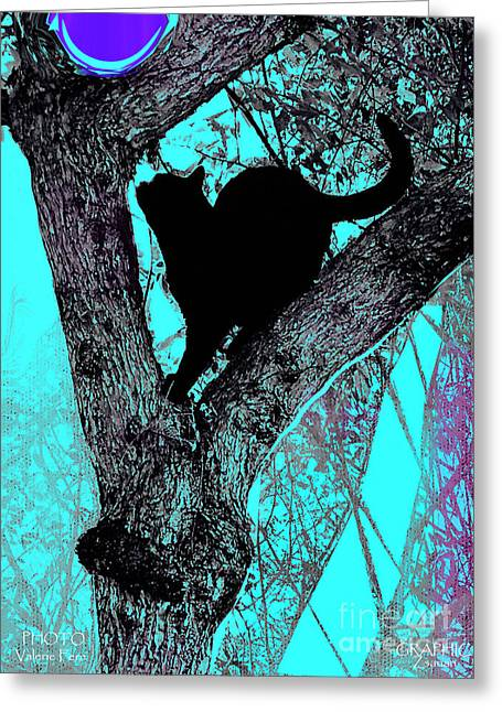 Fauve Cat And Moon Greeting Card