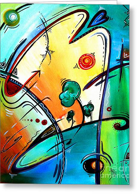 Just Having Fun Original Pop Art Abstract Painting By Madart Greeting Card by Megan Duncanson