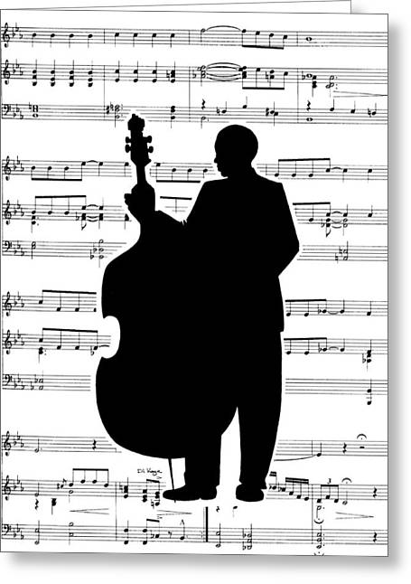 Just Jazz - Double Bass Greeting Card by Di Kaye