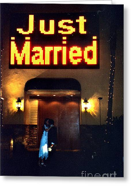 Just Married Greeting Card by Andrea Simon