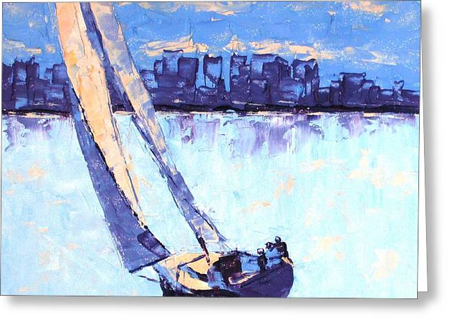 Just Outside Of Boston Greeting Card by Leslie Saeta