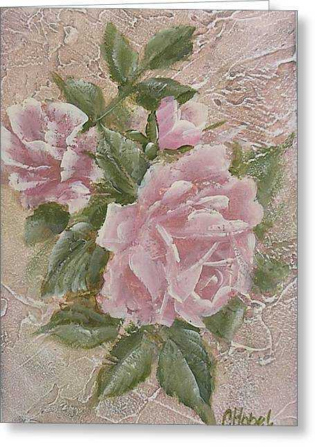 Greeting Card featuring the painting Just Roses by Chris Hobel