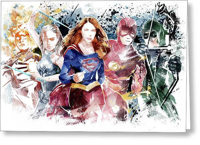 Justice League Greeting Card by Unique Drawing