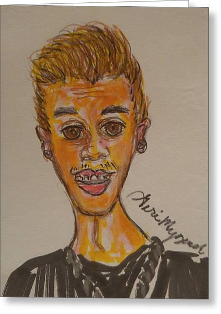 Justin Bieber Greeting Card by Geraldine Myszenski