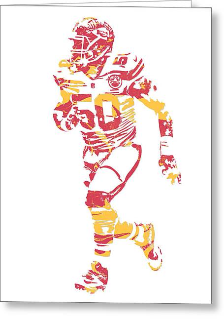 Justin Houston Kansas City Chiefs Pixel Art 6 Greeting Card