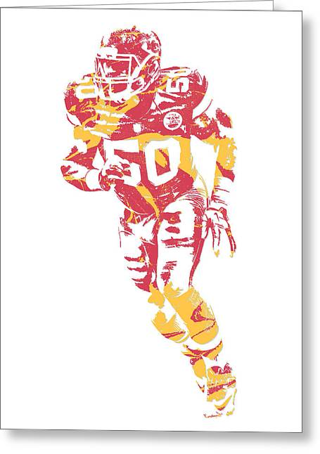 Justin Houston Kansas City Chiefs Pixel Art 7 Greeting Card
