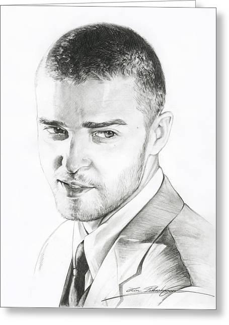 Pop Singer Drawings Greeting Cards - Justin Timberlake Drawing Greeting Card by Lin Petershagen