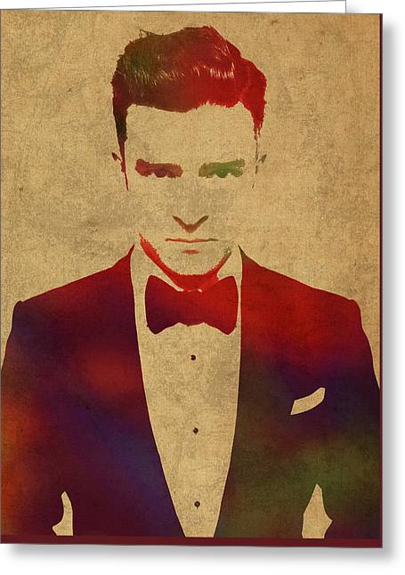 Justin Timberlake Watercolor Portrait Greeting Card by Design Turnpike